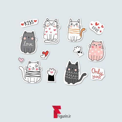 استیکر (برچسب) کوچک طرح گربه های ملوس و بامزه
