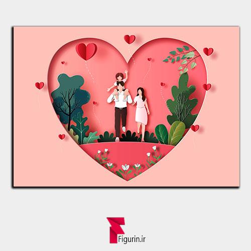 تابلو سه بعدی طرح خانواده عاشق
