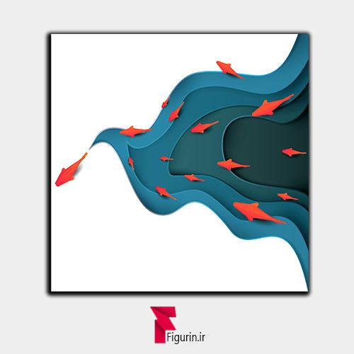 تابلو سه بعدی طرح ماهی قرمز و حوضچه