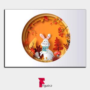 تابلو سه بعدی طرح پاییز و خرگوش