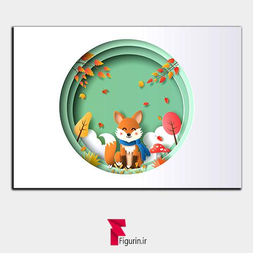 تابلو سه بعدی طرح پاییز و روباه (1)
