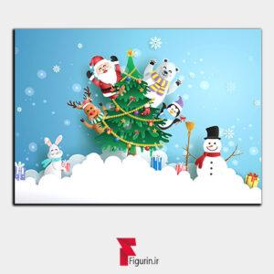 تابلو سه بعدی طرح بابانوئل و کریسمس