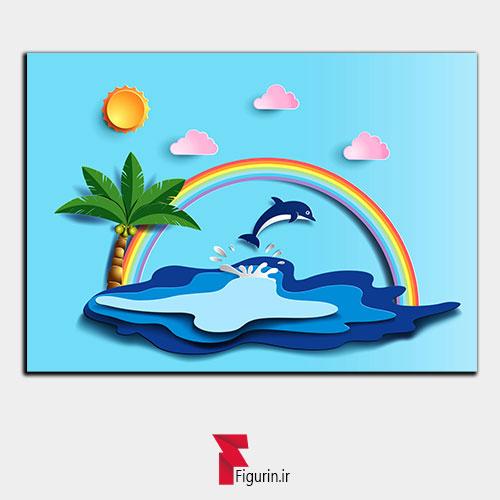 تابلو سه بعدی طرح جزیره دلفین