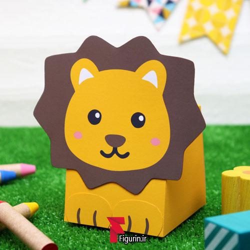 کاردستی گیفت باکس کودکانه طرح شیر جنگل